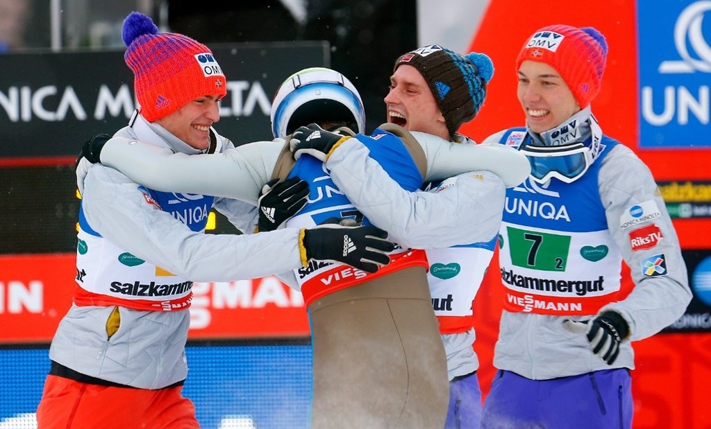 Kenneth Gangnes (2nd L) of Norway celebrates with his teammates Johann Andre Forfang (R), Daniel Andre Tande (L) and Anders Fannemel after winning the team event of the Ski Flying World Championships at Kulm hill in Bad Mitterndorf, Austria January 17, 2016.   REUTERS/Heinz-Peter Bader